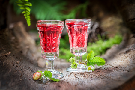 Tasty liqueur made of wild strawberry and alcohol Фото со стока