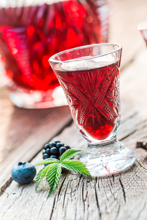 Sweet liqueur with berry fruits and alcohol in summer Zdjęcie Seryjne