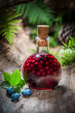 Closeup of liqueur made of alcohol and blueberries Stock Photo