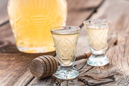 Tasty liqueur made of honey in summer