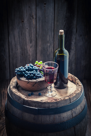Fresh red grapes and wine on oak barrel Stock Photo