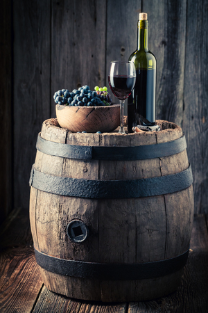 Red wine with fresh grapes on oak barrel Stockfoto