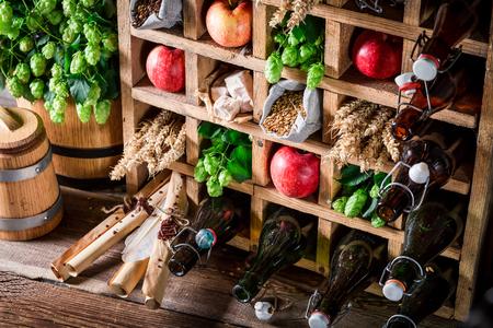 Fresh beer ingredients in old wooden box