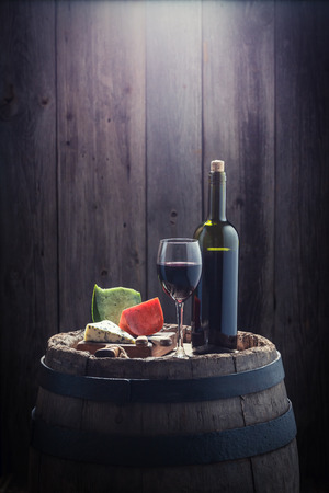 Red wine and mix of cheese with copy space Stock Photo