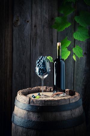 おいしい赤ワインと古い鏡筒に新鮮なブドウ 写真素材