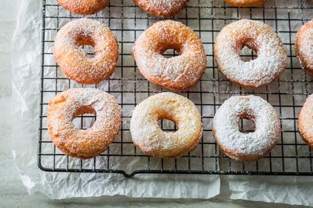 Sweet and hot homemade donuts ready to eat