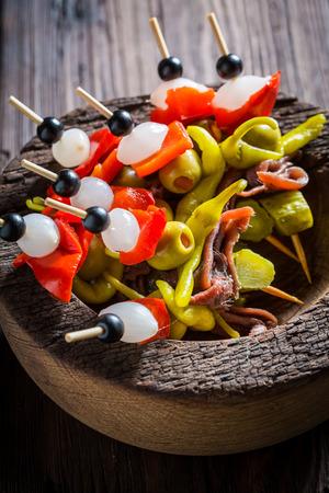 Closeup of spicy banderillas for spanish corrida Stock Photo - 81965230