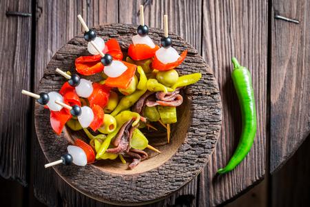 Homemade banderillas with fresh ingredients for spanish corrida Stock Photo - 82307834