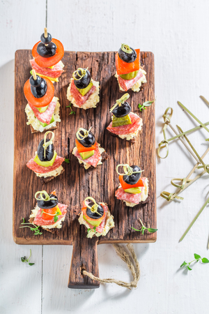 Closeup of appetizer with fresh ingredients for party Reklamní fotografie - 82122951