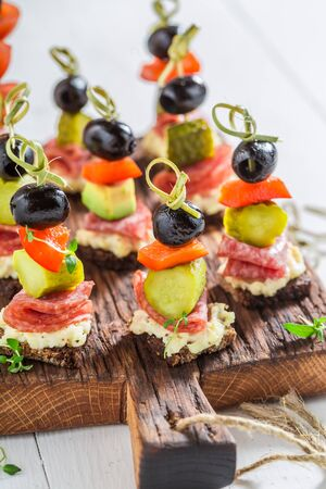 Closeup of appetizer with vegetables and herbs for snack