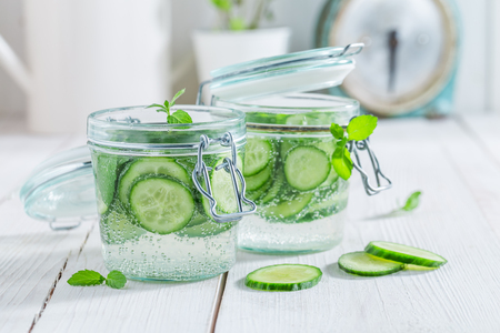 Closeup of water in jar with mint and fresh cucumber