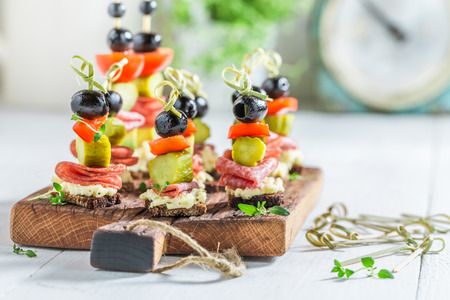 Tasty various appetizer with fresh ingredients for party Stock fotó