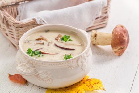 Smakelijke boletuscrème met champignons en peterselie Stockfoto - 82111550