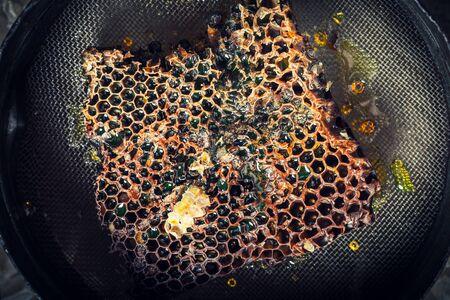 Close-up van honing in oude imkerhulpmiddelen Stockfoto