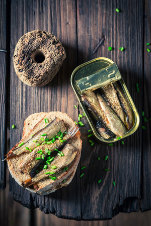 Fresh sandwich with sardines, wholegrain bread and chive Stok Fotoğraf