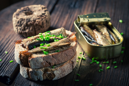 Healthy sandwich with sardines, chive and wholegrain bread Stok Fotoğraf