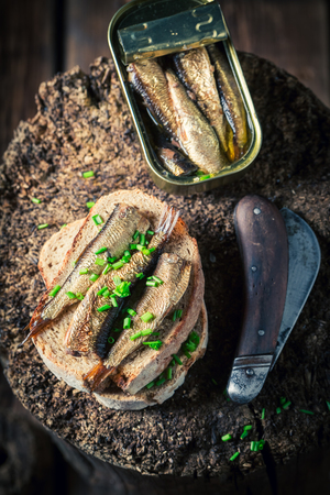 Sandwich with sardines, wholegrain bread and chive Stok Fotoğraf