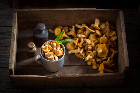 Raw chanterelles in an old wooden box