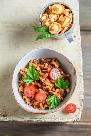 Delicious fried mushrooms made of fresh chanterelles Reklamní fotografie