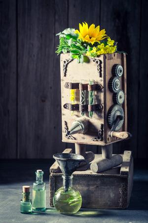 Unique machine to make oil in old basement Фото со стока