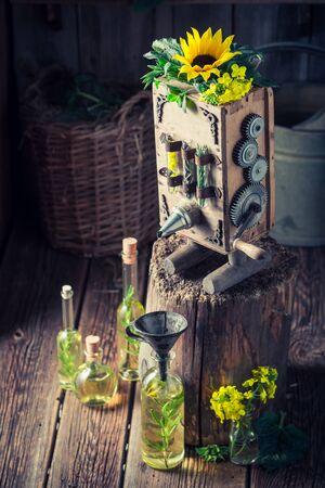 古い地下室で油を作る自家製の機械