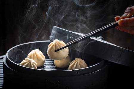 Yummy and hot chinese dumplings on black background Reklamní fotografie