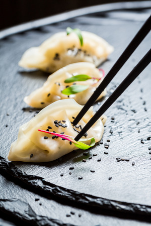Closeup of homemade gyoza dumplings on black rock Stock Photo