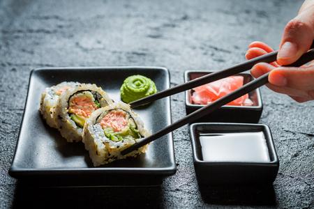 わさびと醤油でおいしい寿司のクローズ アップ 写真素材