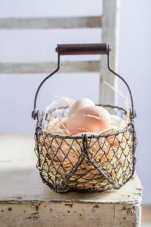 Good free range eggs in the basket Stock Photo
