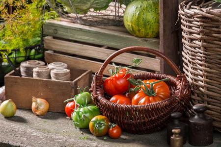 Vintage basement with harvested vegetables and fruits