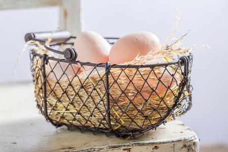 농장의 비타민과 생태 알으로 가득 차 있습니다. 스톡 콘텐츠