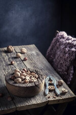 Tasty walnuts and hazelnuts with with old nutcracker Stock Photo