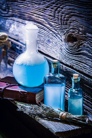 Closeup of magical blue potions in witch cottage for Halloween Zdjęcie Seryjne