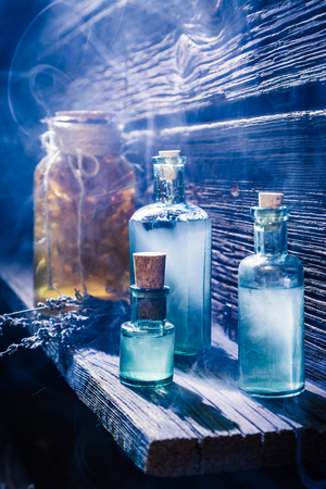 Magical lab full of blue potion for Halloween Stock Photo