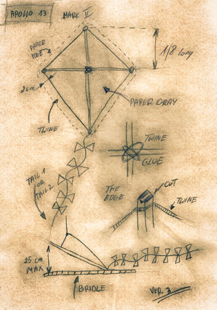 Sepia Handmade Diagram Of How To Build A Kite Stock Photo Picture