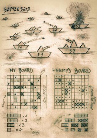 海の手のスケッチ セピア戦艦ゲーム