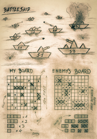 Hand sketch sepia battleship game on sea Фото со стока - 86872079