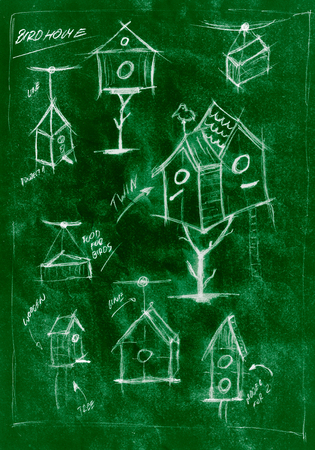Green handmade diagram of how to build a birdhouse Stock Photo