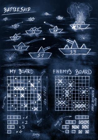 海の手スケッチ青戦艦ゲーム 写真素材