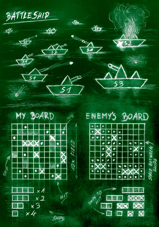 Hand sketch green battleship game on sea