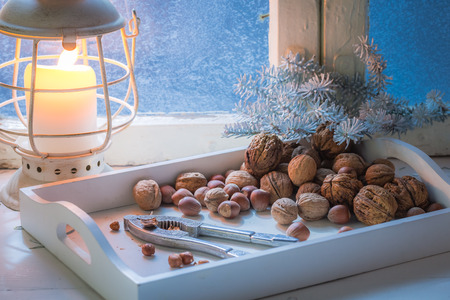 Tasty hazelnuts and walnuts for Christmas in cold night Stock Photo