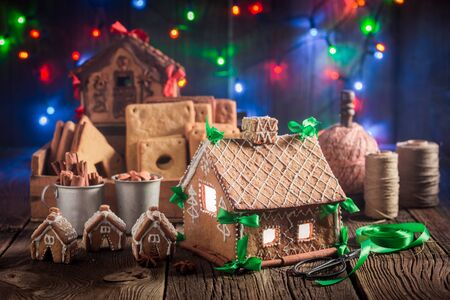 Magical Christmas gingerbread cottage in the unique place Stock Photo