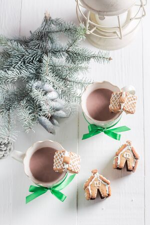 Homemade gingerbread cottages with tasty cocoa as Christmas snack Stock Photo