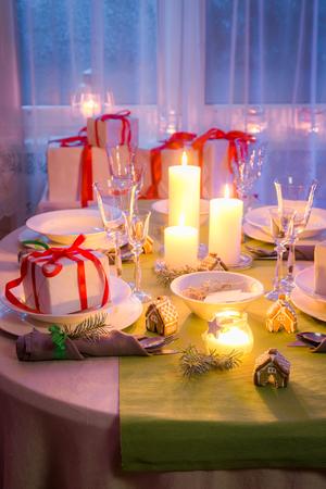 Family Christmas table setting for Christmas eve Stock Photo