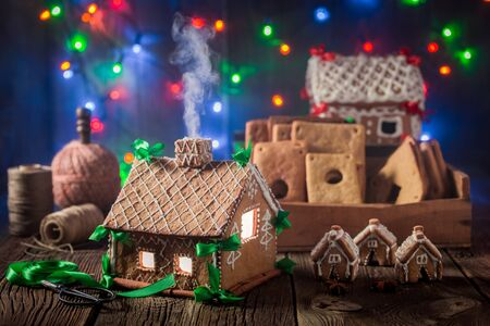 Magical Christmas gingerbread cottage in the old workshop