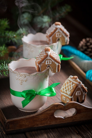 Aromatic gingerbread cottages with tasty cocoa for Christmas Stock Photo
