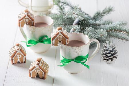 Homemade gingerbread cottages with hot chocolate for Christmas
