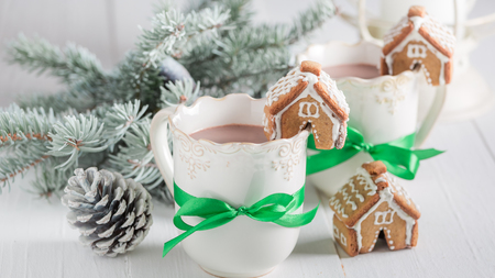 Closeup of gingerbread cottages with hot chocolate as Christmas snack