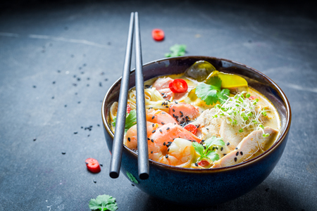 Tasty Malaysian Soup with prawn and coconut milk