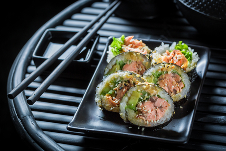 Delicious sushi set with wasabi and soy sauce Stock Photo
